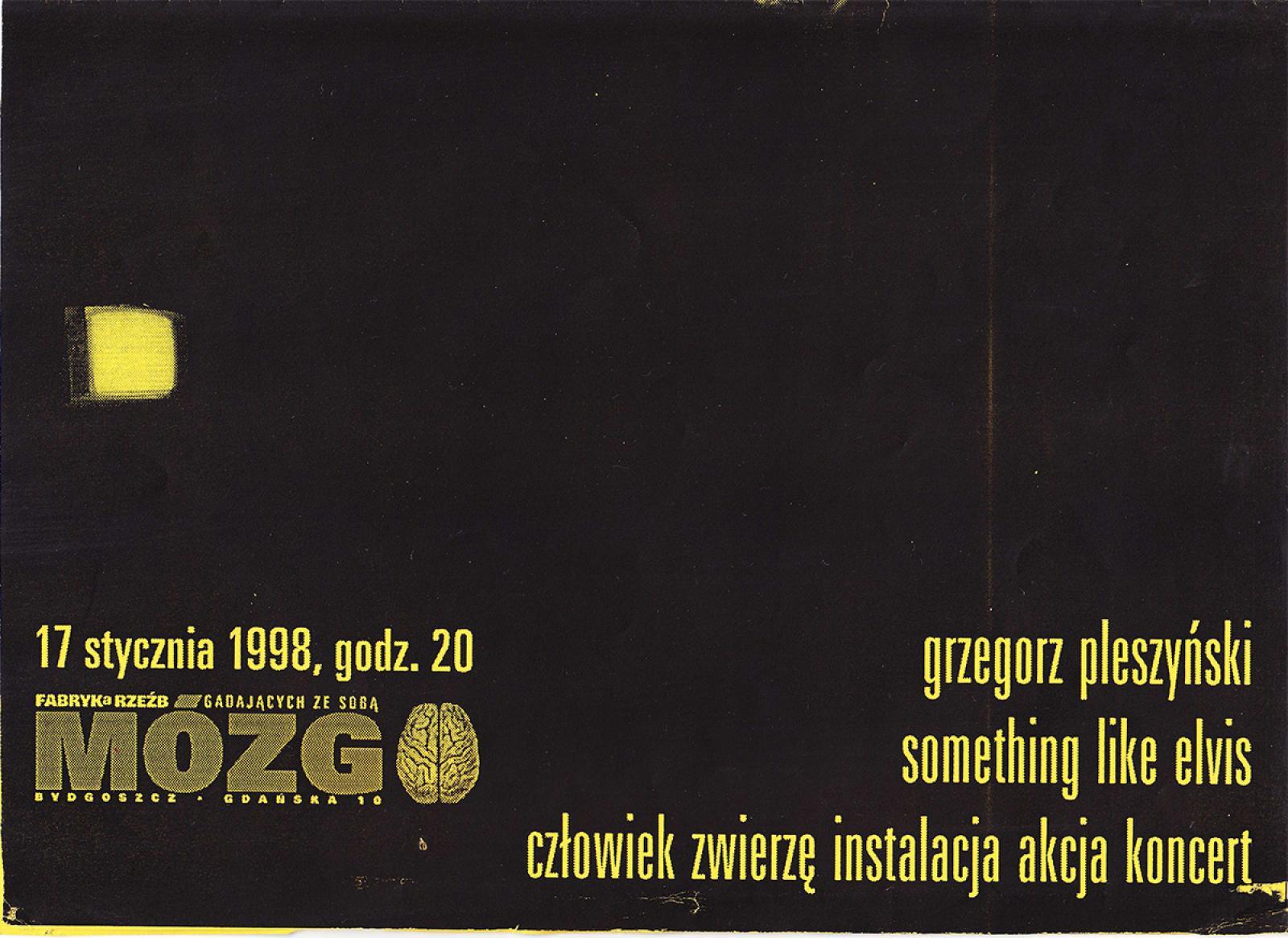 """Something Like Elvis - koncert,<br /><br /> Grzegorz Pleszyński """"Człowiek zwierzę"""" - instalacja, performance"""