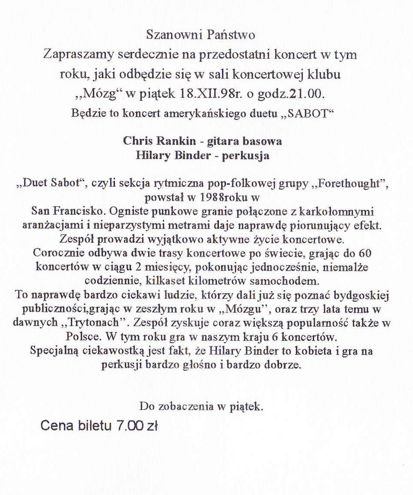 Sabot (USA/Czechy) - koncert
