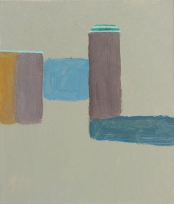 """ZbyZiel, z cyklu """"Minimalarstwo"""", 2011, akryl, tektura, 12 x 15 cm"""