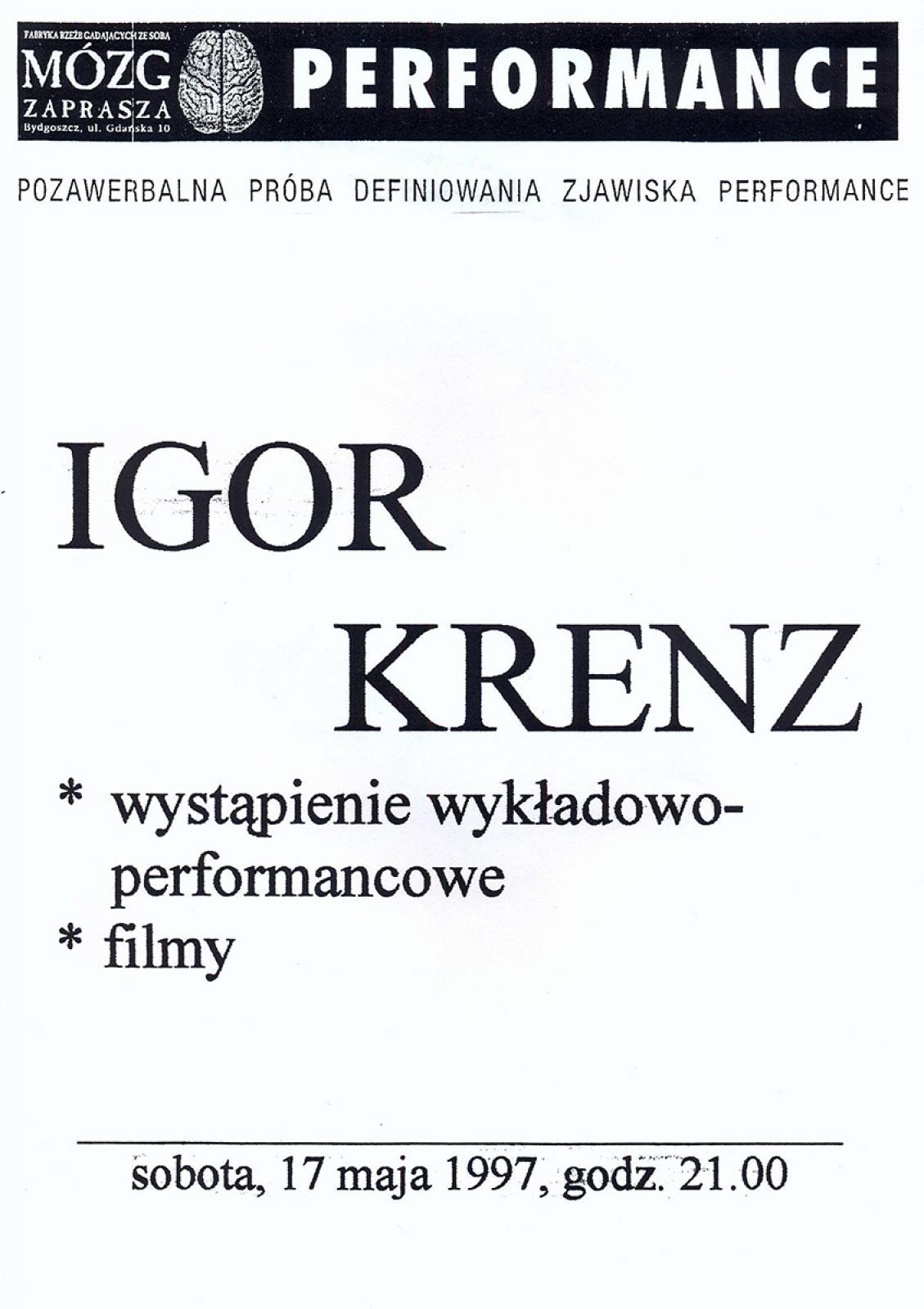 Igor Krenz - wystąpienie wykładowo-performancowe - z cyklu: pozawerbalna próba definiowania zjawiska performance